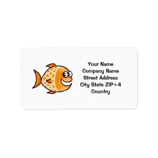 Orange fish return address label
