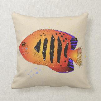 Orange Flame Angelfish Tropical Aquarium Art Cushion