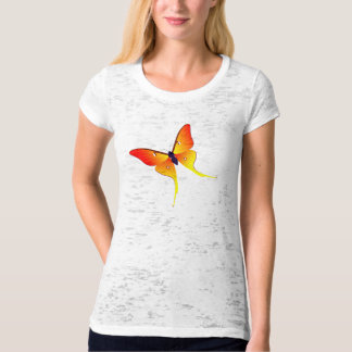 Orange Flame Butterfly Ladies Burnout T-Shirt