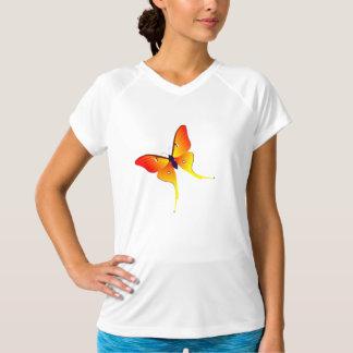 Orange Flame Butterfly Ladies Performance Micro-Fi Tee Shirts