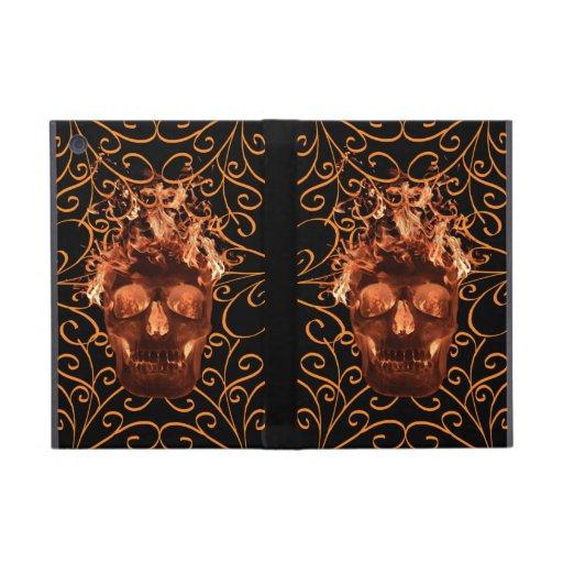Orange Flame Skull iPad Mini Case