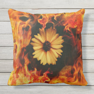 Orange Flaming Daisy Outdoor Cushion