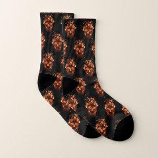Orange Flaming Skull Socks