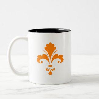 Orange Fleur de lis Two-Tone Mug