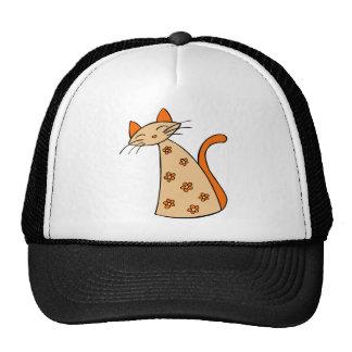 Orange Floral Cat Trucker Hat