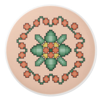 Orange Floral Cross Stitch Quilt Square Ceramic Knob