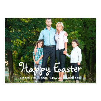 Orange Floral Custom Photo Easter Card