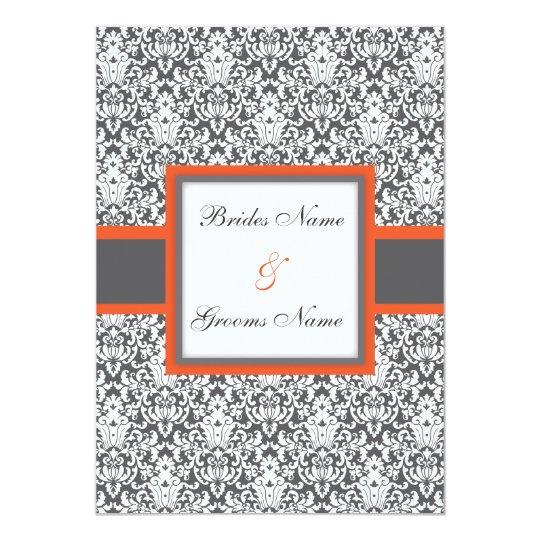 Orange Floral Damask Wedding Invitation