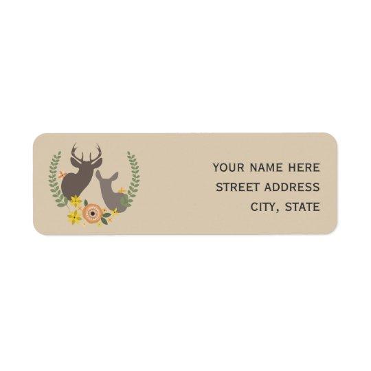 Orange Floral Deer Address Label