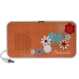 Orange Floral Doodle Custom Speakers Personalized