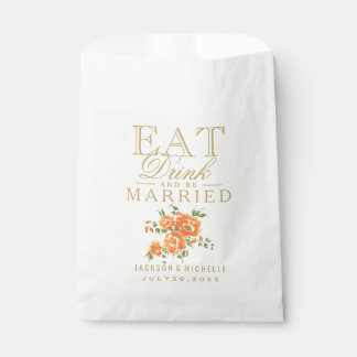 Orange Floral Eat, Drink and be Married - DIY Text Favour Bags