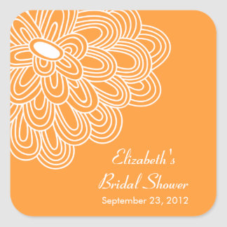Orange Floral Flowers Bridal Shower Favor Sticker