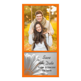 Orange Floral Highlights Wedding Save the Date Photo Cards