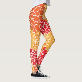 Orange Floral Leggings
