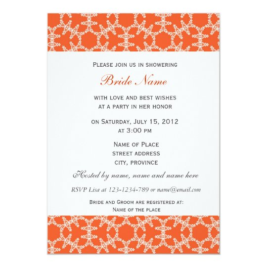Orange floral pattern bridal shower invitation. card