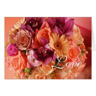 Orange Floral Postage Stamp Greeting Card