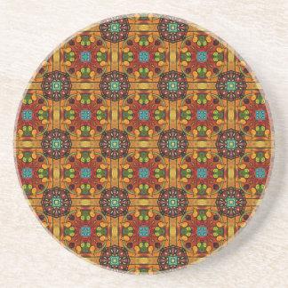 Orange Floral Tiles 2 Beverage Coaster