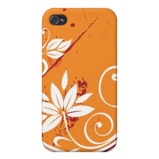 Orange Floral Vine Pattern Case For iPhone 4