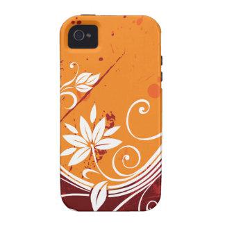 Orange Floral Vines iPhone 4 Cases