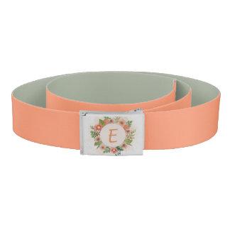 Orange floral watercolor wreath belt