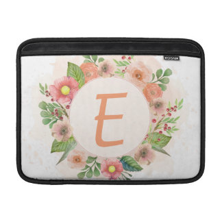 Orange floral watercolor wreath MacBook sleeve