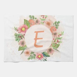 Orange floral watercolor wreath tea towel
