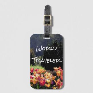 Orange Floral World Traveler Bag Tag