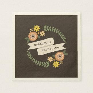 Orange Floral Wreath Wedding Napkins Disposable Serviette
