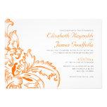 Orange Flourish Wedding Invitations Personalized Announcement