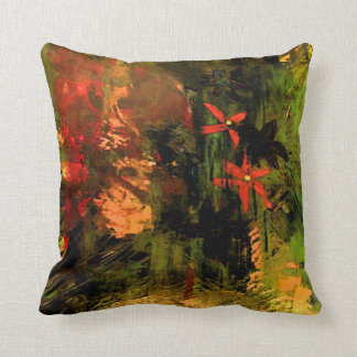Orange Flower Abstract, Reversible Throw Pillow