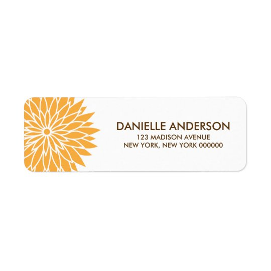Orange Flower Address Return Labels