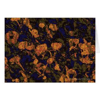 Orange flower against leaf camouflage pattern card
