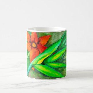 Orange flower and green leaf mug