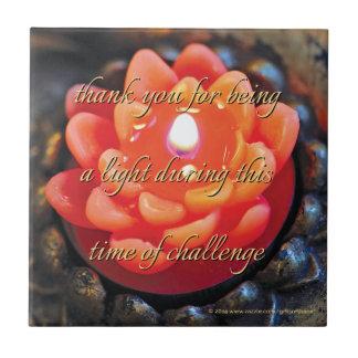 Orange Flower Candle, for caregiver - Ceramic Tile