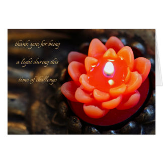 Orange Flower Candle, thank you - Note Card