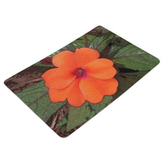 Orange Flower Closeup Floor Mat