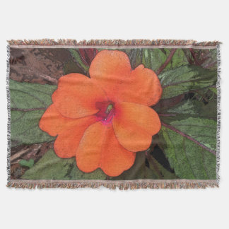 Orange Flower Closeup Throw Blanket