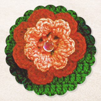 Orange Flower Crochet Print Reusable Round Scallop Paper Coaster