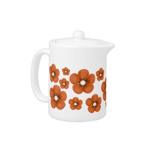 Orange Flower Design Teapot