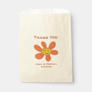 Orange Flower Favor Bag