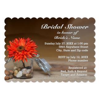 Orange Flower in Glass Jar Bridal Shower Invite