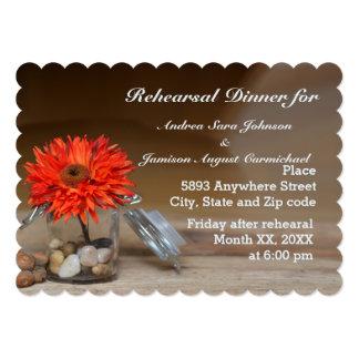 Orange Flower in Glass Jar Rehearsal Dinner Invite