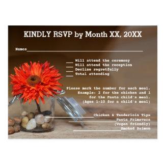 Orange Flower in Glass Jar RSVP & Menu Postcard