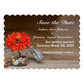 Orange Flower in Glass Jar Save the Date Flat Card 13 Cm X 18 Cm Invitation Card