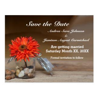 Orange Flower in Glass Jar Save the Date Postcard