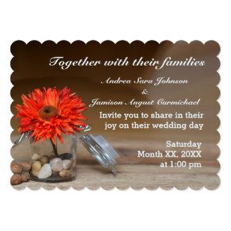 Orange Flower in Glass Jar Wedding Invitation