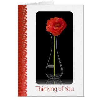 Orange Flower in Vase- Thinking of you Card