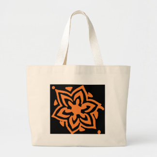 Orange flower large tote bag