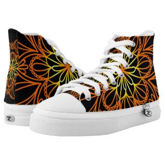 Orange Flower Mandala Black High Top Shoes