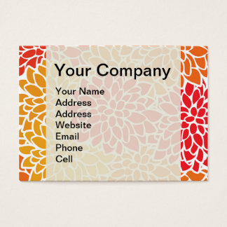Orange Flower Modern Contemporary Business Card